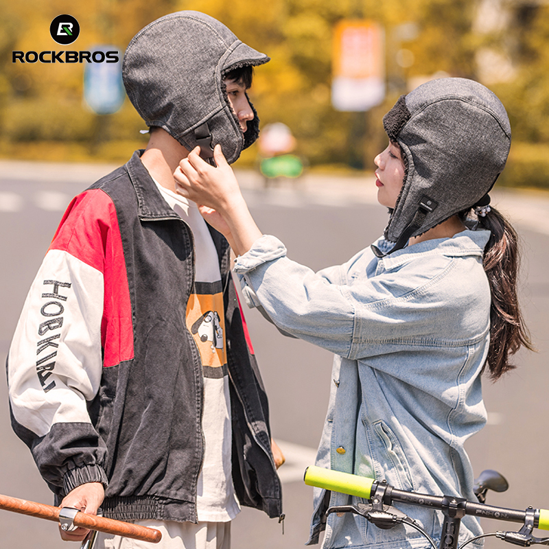 ROCKBROS Windproof Fleece Keep Warm Skiing Cycling Hat Earmuff Winter Headwear Women Men Bike Cap Equipment Cycling Cap