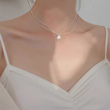 Temperament Necklace 925 Sterling Silver Jewelry Six-pointed Star Round Pendant Double Clavicle Chain Woman Party Jewelry Gift