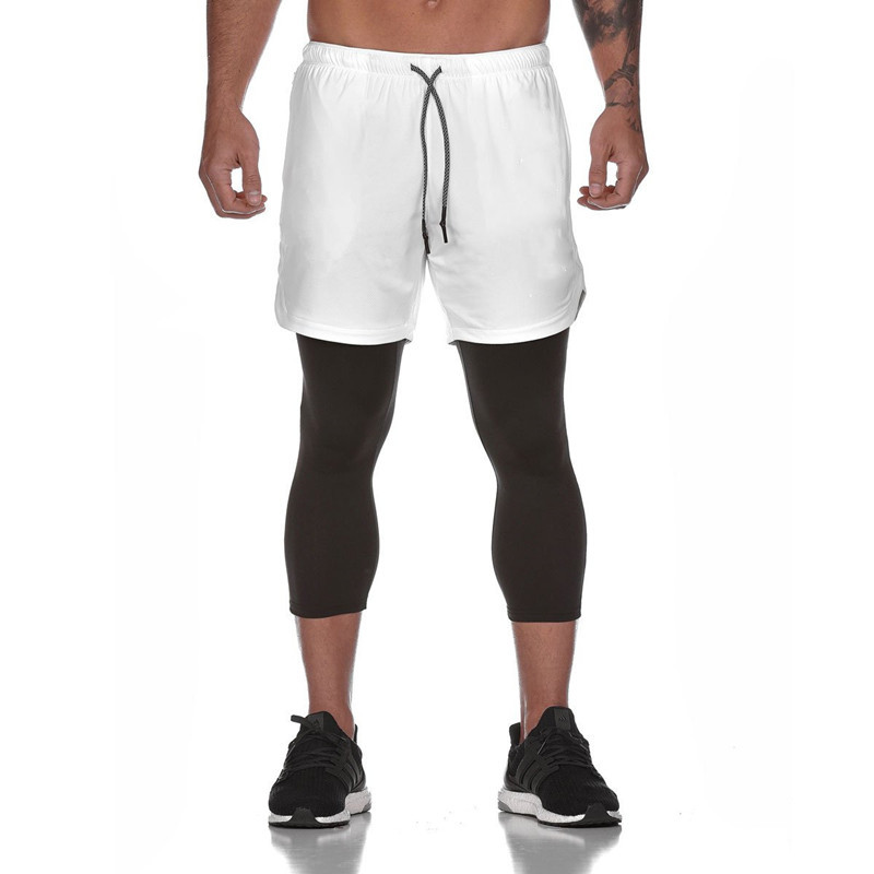2in1double Layer Running Shorts Mens Compression Shorts White Black Shorts Gym Secure Pocket Fitness Long Pants Jogging Training
