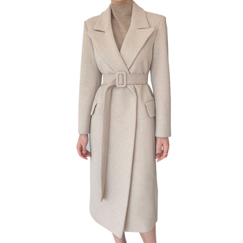 Woman Coats Winter Wool Long Coat With belt Office Lady Fashion lace Up Coats Outerwear 6