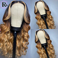 RULINDA Highlight Ombre Color Lace Front Human Hair Wigs Body Wave Brazilian Remy Hair Lace Wigs Middle Part Pre-Plucked