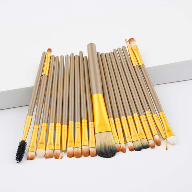 20PCSMakeup Brushes Luxury Champagne For Foundation Powder Blush Eyeshadow Concealer Lip Eye Makeup Brush Cosmetics Beauty Tools 3