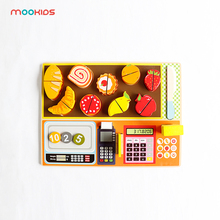 Mookids Wooden Kitchen Toys Set Cut Vegetables Fish Cooking food for Kids Baby Early Education Food Girl gifts