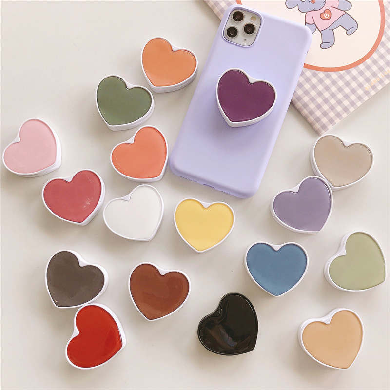 Universal Fresh Solid Color Cute Heart-shaped Foldable Mobile Phone Handle Bracket Mobile Phone Ring Bracket Suitable For IPhone