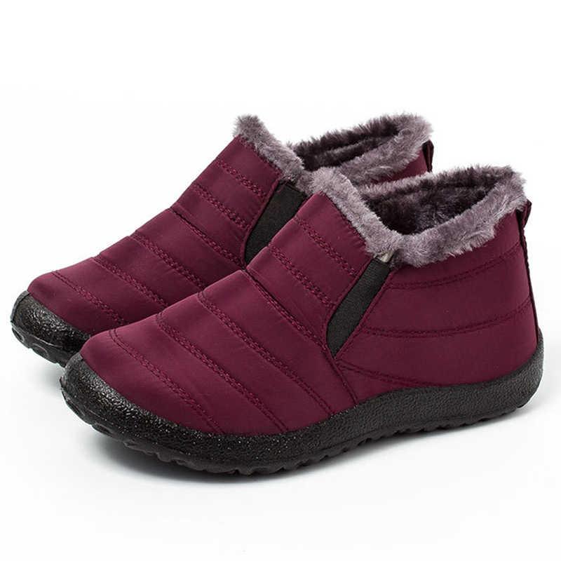 Kadın Kışlık Botlar Kadın yarım çizmeler Sıcak kaymaz Düz Kış Ayakkabı Kar Botları Kürk Büyük Boy 35- 45