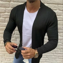 Fashion Men's Cardigan Sweater Slim Fit Solid Color Knitwear Korean Style Casual Clothing Male(China)