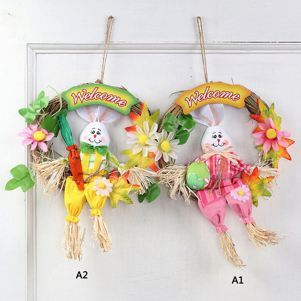 Creative Straw Garland Cute Easter Rabbit Door Hanging Wreath Home Wall Window Garden Easter Party Decor Ornament Accessory
