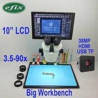 efix 38MP 3.5-90X HDMI USB Soldering Microscope Camera C-Mount Lens Trinocular Stereo Zoom 10