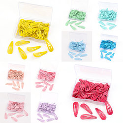 3CM 50Pcs/Box Snap Hair Clips For Baby Girls Solid Color Baby Kids Hairpins Metal Hairgrips Children Hair Barrettes Accessories