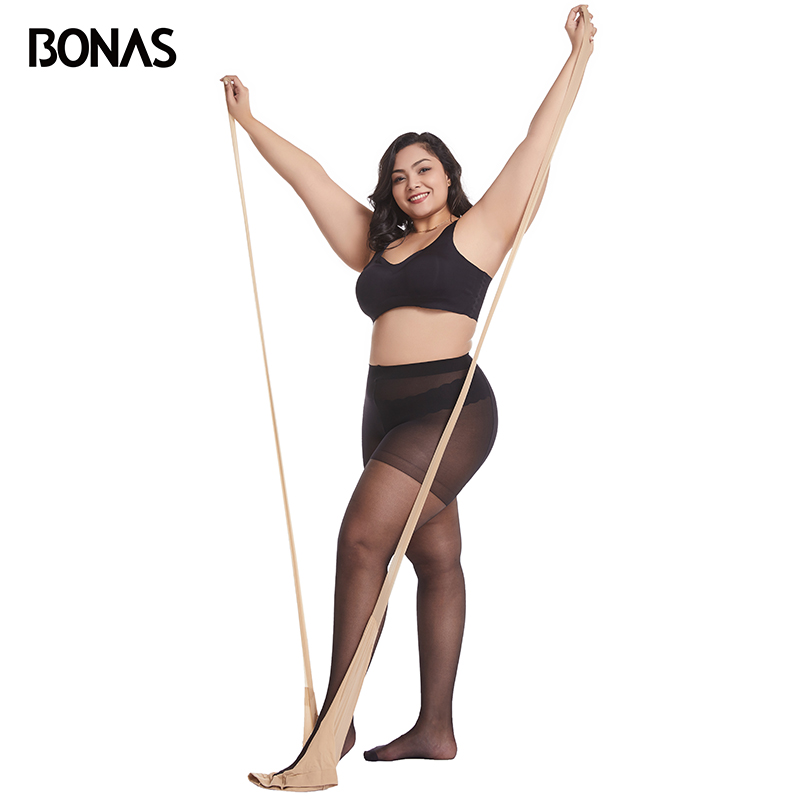 BONAS Tear-resistant 15D XXXL Pantyhose Elasticity Tights Nylon Women's Sexy Extra Stockings 100KG Collant Femme Arbitrary Cut