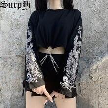 Moda outono vintage solto manga longa feminino topos harajuku goth streetwear emenda impressão dragão corrente preto t-shirts