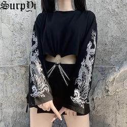 Autumn Fashion Vintage Loose Long Sleeve Women Tops Harajuku Goth Streetwear Splicing Print Dragon Chain Black T-Shirts