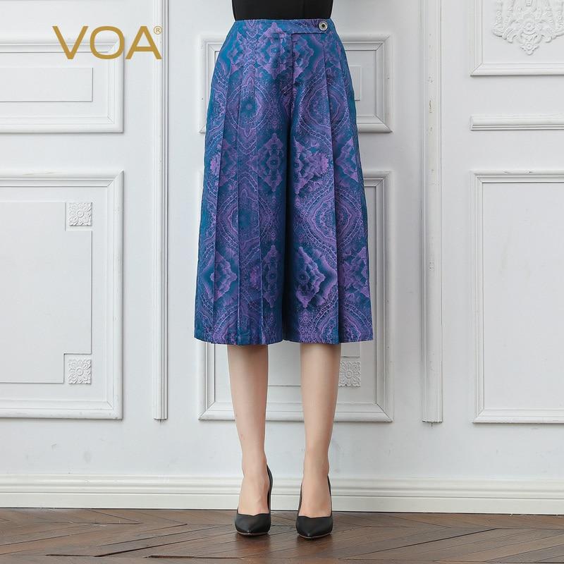 VOA Fumigating Purple Pleated Printed Button Luxury Retro Medium Waist Thick-Capri Mulberry Silk Loose Pants K797