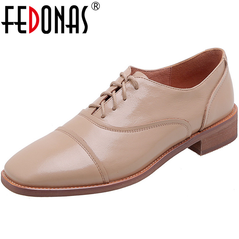 FEDONAS New Fashion Spring Summer Cross-Tied Women Genuine Leather Butterfly Knot Basic Pumps Square Heels Concise Shoes Woman