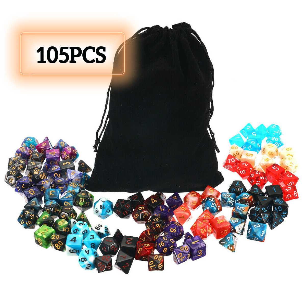 105Pcs Polyhedral Dice Set DND RPG MTG Role Playing Dragon Table Game +Bag Mixed Color Set