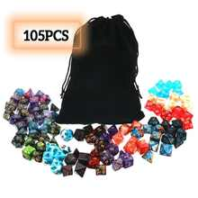 Conjunto poliédrico de dados 105 peças, jogo de papel dnd rpg mtg jogo de mesa + conjunto de cores mistas