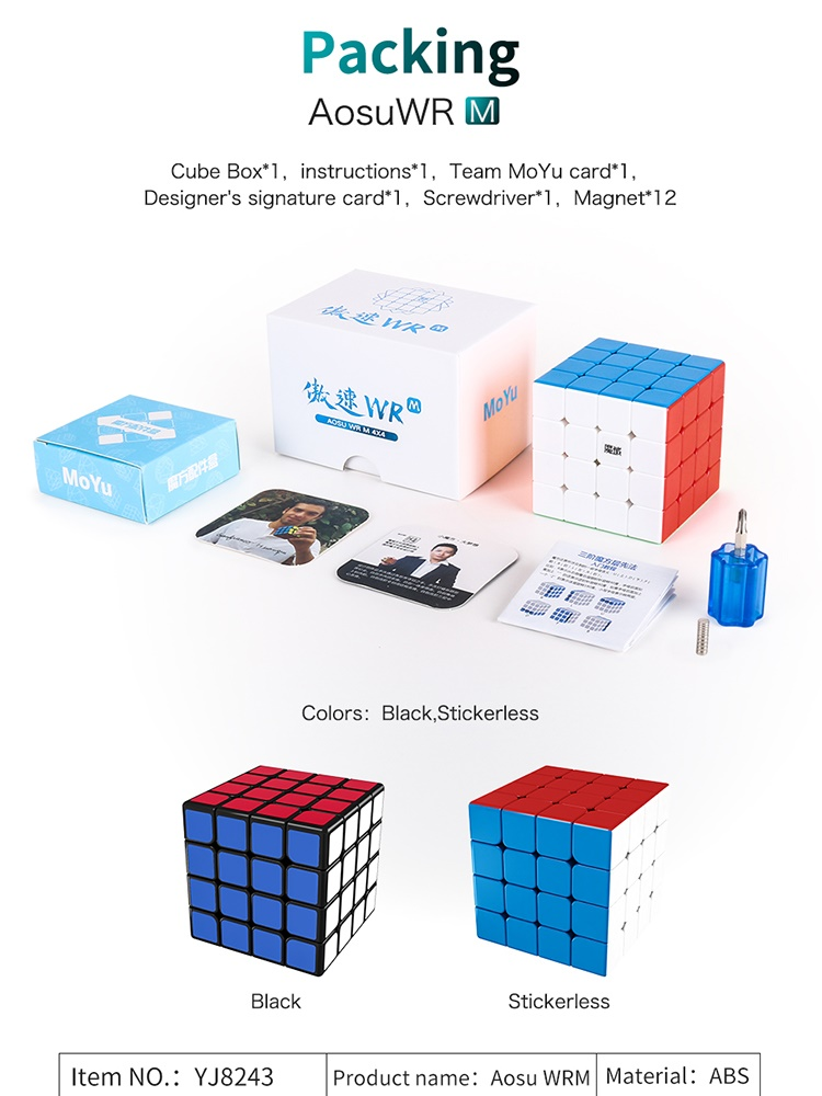 Competition-Cubes Puzzle Cubo Magico Moyu Aosu 4x4x4 Magnetic Wr-M