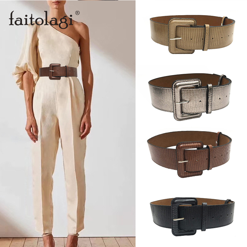 Retro PU Leather Ladies Dress Belt Wide Female Waist Cinch Belts Black Brown Thick Women Corset Belt