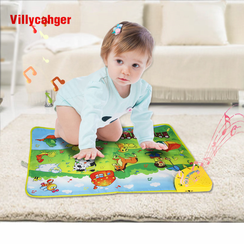 69*50cm Animal Farm Theme Musical Learning Mat with Songs & 7 Animals Voice Flashing Touch Play Carpet Educational Toys for Kids | Happy Baby Mama