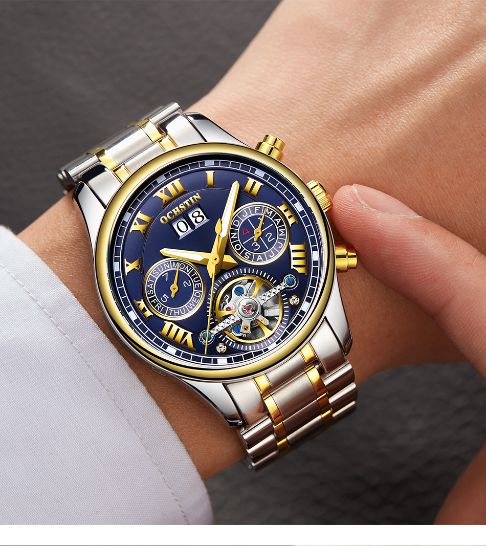 OCHSTIN 2019 men's watches top brand luxury business Automatic clock Tourbillon waterproof Mechanical watch relogio masculino
