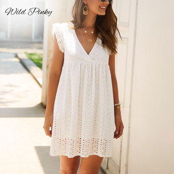 WildPinky Summer Women Lace Embroidery Sexy Dress Ruffle Sleeve Causal Pink Cotton Mini Dresses Hollow Out Short Dress Vestidos sexy hollow out crochet lace mini dress