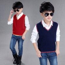 New Boys Pullover Vest Brand School Children V-Neck Woolen Sweater for Girls Kids Fall/Winter Knitted