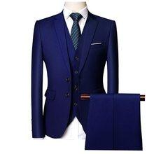 Мужской костюм из трех предметов, высококачественный деловой костюм большого размера на весну и осень, костюм с двумя пуговицами, 2020