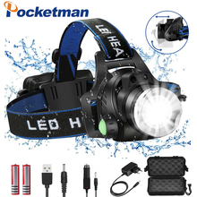 Headlamps 8000lumens Led Headlamp L2/T6 Zoomable Headlight Head Torch Flashlight Head lamp by 18650 battery for Fishing Hunting