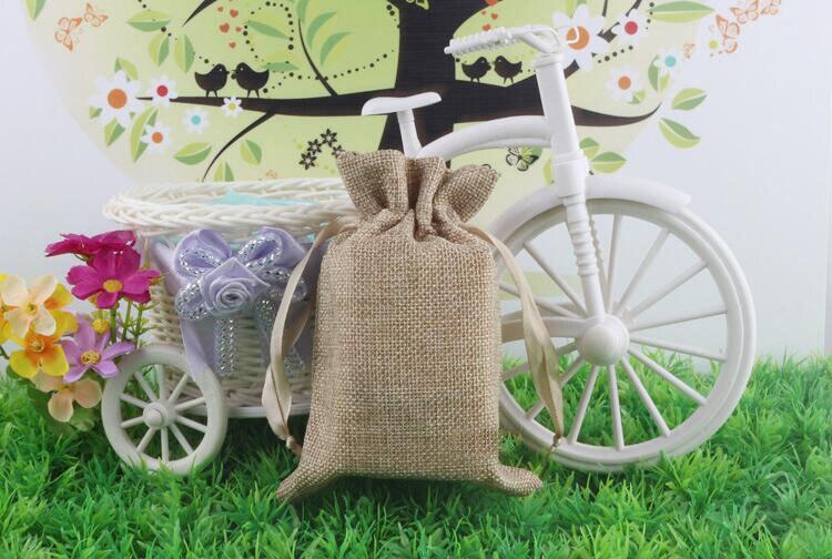 14*18 1000 pièces Jute sacs cordon cadeau sacs pour bijoux/accessoires/cosmétique/mariage/noël lin pochette sac d'emballage