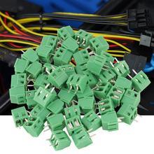 цена на 50 Pcs/lot 2-Pin Plug-in Screw Terminal Block Connector 3.81mm Spacing PCB Universal Terminal Blocks