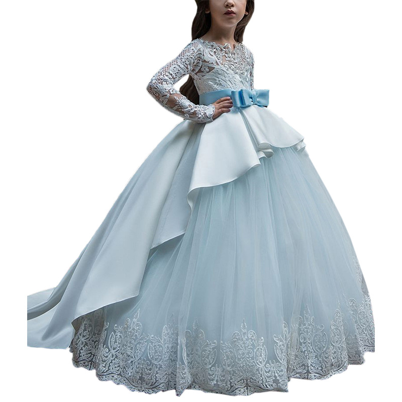 Cpb032 New Europe and America Girl Clothes with Long Sleeves and Tail-tailed Lace for Children's Birthday Show Princess Dress
