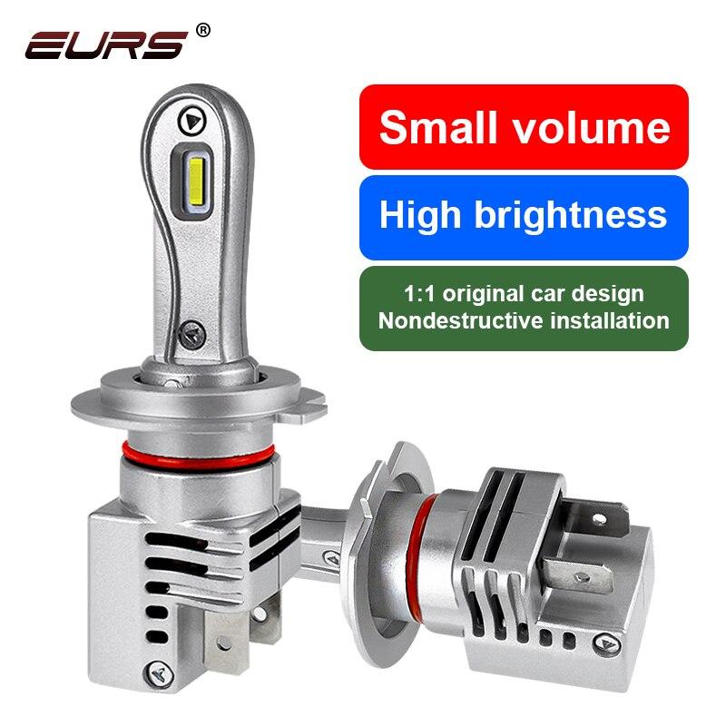 Светодиодсветодиодный лампы EURS H7 для автомобильных фар, светодиодные лампы для фар дальнего света 50 Вт, лампы 10 000 лм, противотуманные фары 12...