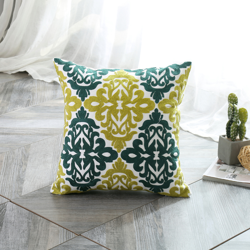 Liv Esthete 100 Cotton Luxury European Bohemia Embroidery Cushion Cover Decorative Square Pillow Cover For Sofa Bed Car 45x45cm in Cushion Cover from Home Garden