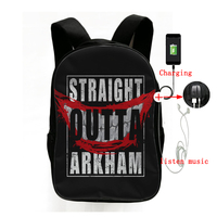 New Suicide Squad Straight Outta Arkham Multifunction Backpack School Bags for Teens USB Charging Headphone Jack Laptop Backpack