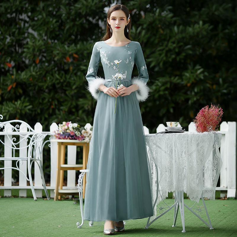 A-Line Burgundy Bridesmaid Dresses Embroidery Tulle Vintage Long Dress For Wedding Party For Woman Wedding Guest Dress Vestidos