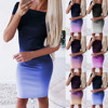 Gradient Color Dress for Summer Lady's Above Knee Sexy Dress