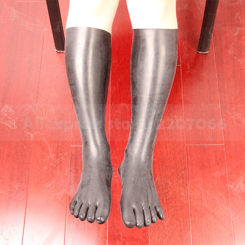 Black 3D mould made latex rubber middle long five toes socks sexy male female natural latex knee sock  RLA111