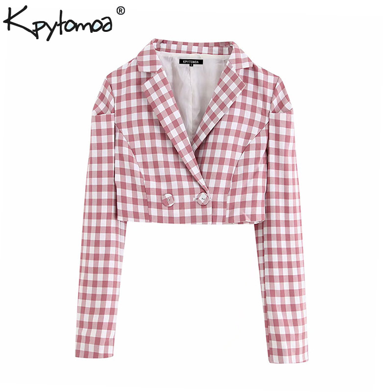 Blazer Coat Outerwear Short-Style Plaid Long-Sleeve Vintage Double-Breasted Women Fashion