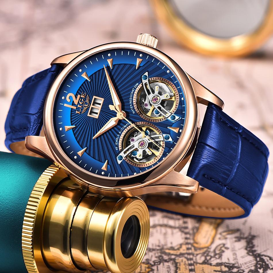 LIGE Luxury Brand Waterproof Military Sport Men Watches Men Double Tourbillon Watch Automatic Mechanica Clock Relogios Masculino