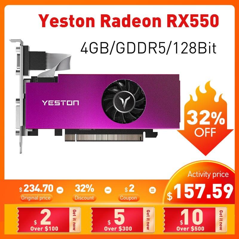 Yeston Radeon RX550 4 Гб GDDR5 128Bit 1183 МГц 6000 DVI-D + HD + VGA игровой Графика карты для компьютера видео