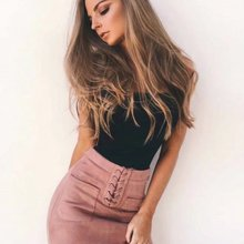 Women Leather Suede Pencil Skirts Short High Waist Bandage Solid Bandcon Sexy Pa