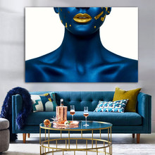 Larger Size Blue Golden Nude Woman Headband Portrait Canvas Painting Posters Prints Wall Art Picture for Living Room