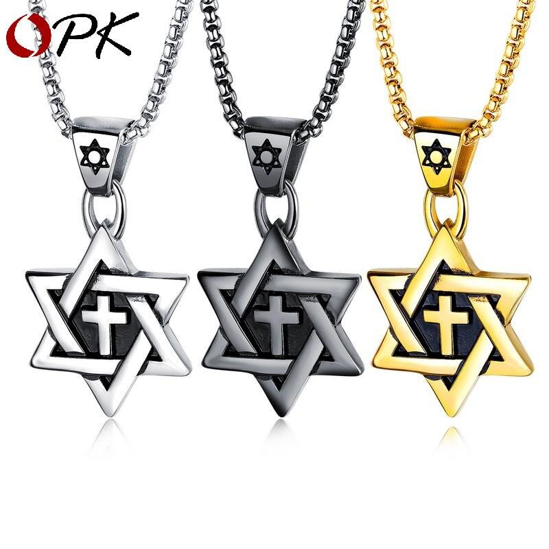 Collier croix homme OPK six étoiles étoile marée mâle titane acier ornements pendentif rétro