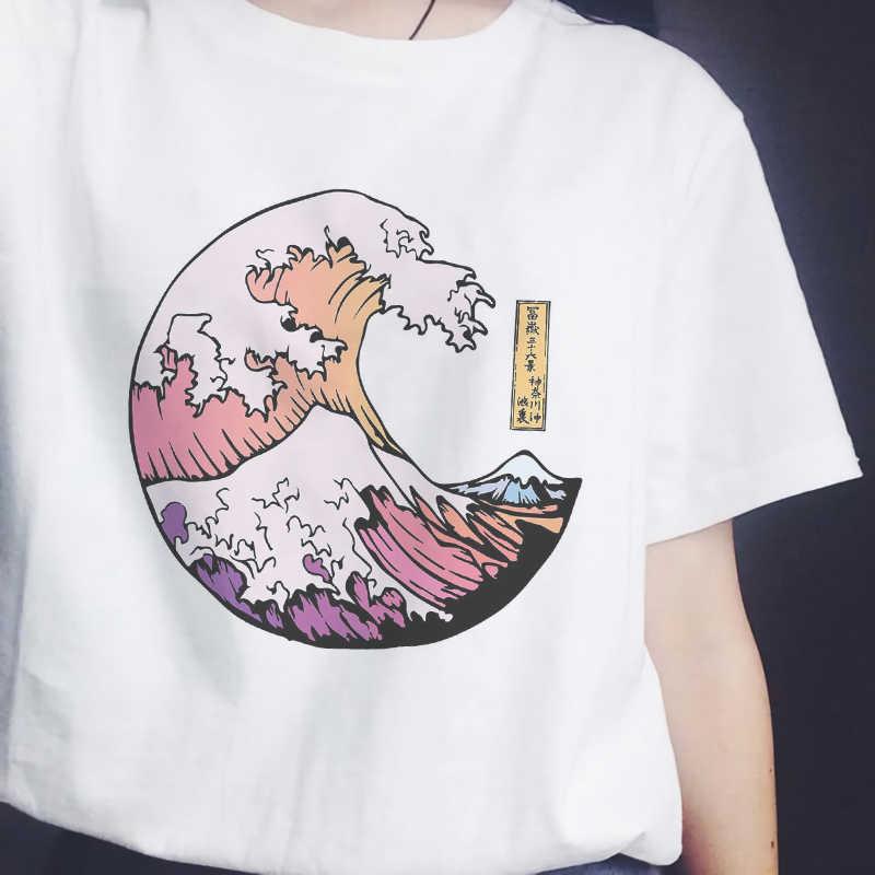 Áo Sơ Mi Nữ Hoàng Hôn Trên Biển In Bông Tai Kẹp Áo Thun Phong Cách Nhật Bản Vogue O-Cổ Áo Thun Nữ Tay Ngắn Bé Gái thun