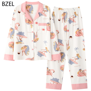 Image 1 - Bzel 2020 Leisure Katoen Nachtkleding Pyjama Vrouwen Kleding Lange Mouw Tops Set Dames Pijama Sets Night Pak Thuis Dragen Grote size