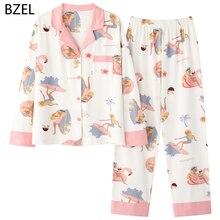 Bzel 2020レジャー綿パジャマパジャマ女性服長袖セット女性のスパースターセット夜のスーツのホームウェアビッグサイズ