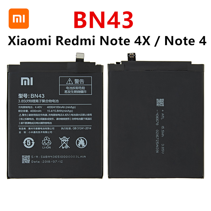 100% Orginal BN43 Battery 4000mAh For Xiaomi Redmi Note 4X / Note 4 Global Snapdragon 625 High Quality BN43 Battery