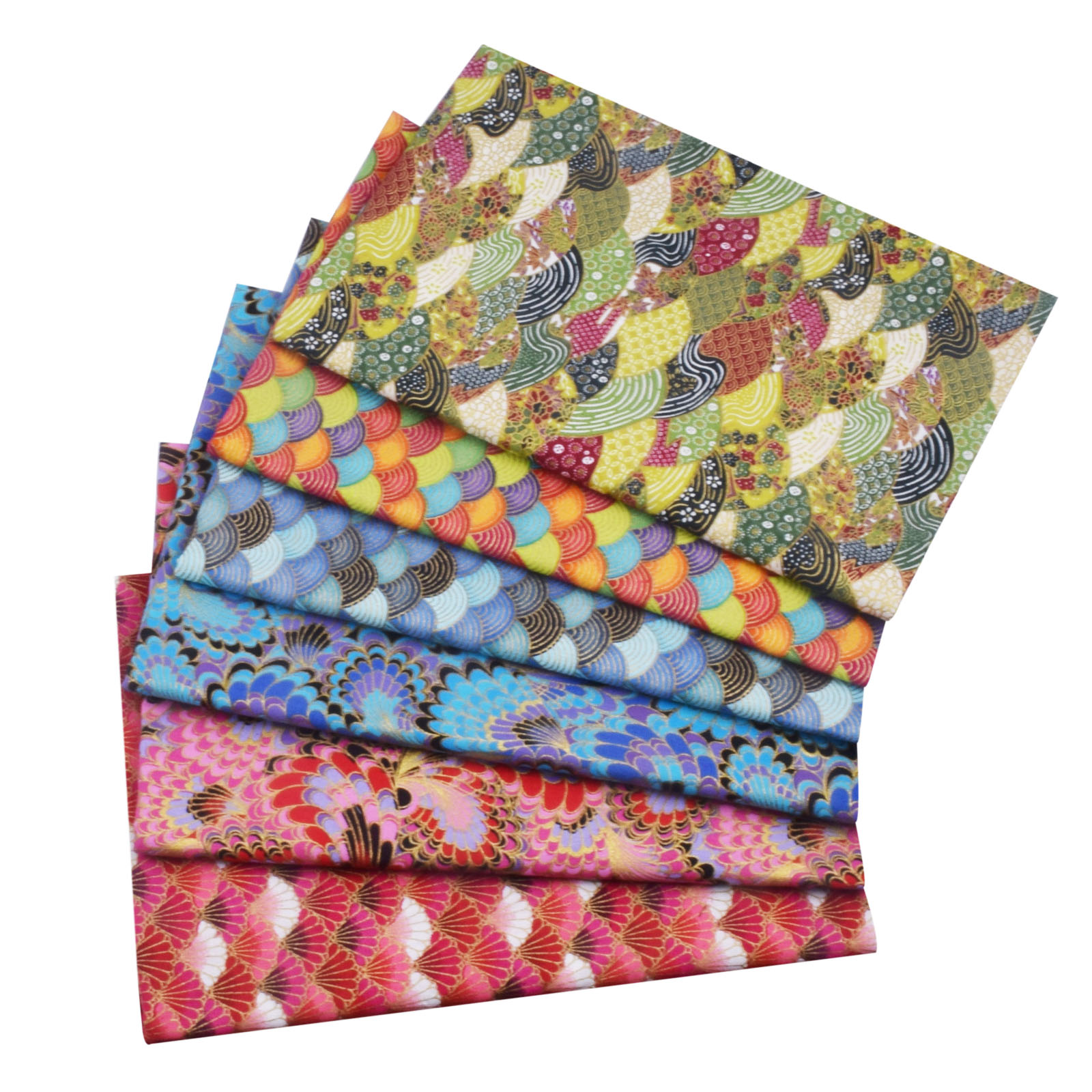 Colorful Wave Japanese Kimono Fabric, Sea Wave Sewing Fabric For Making Dolls & Bags Patchwork Cloth