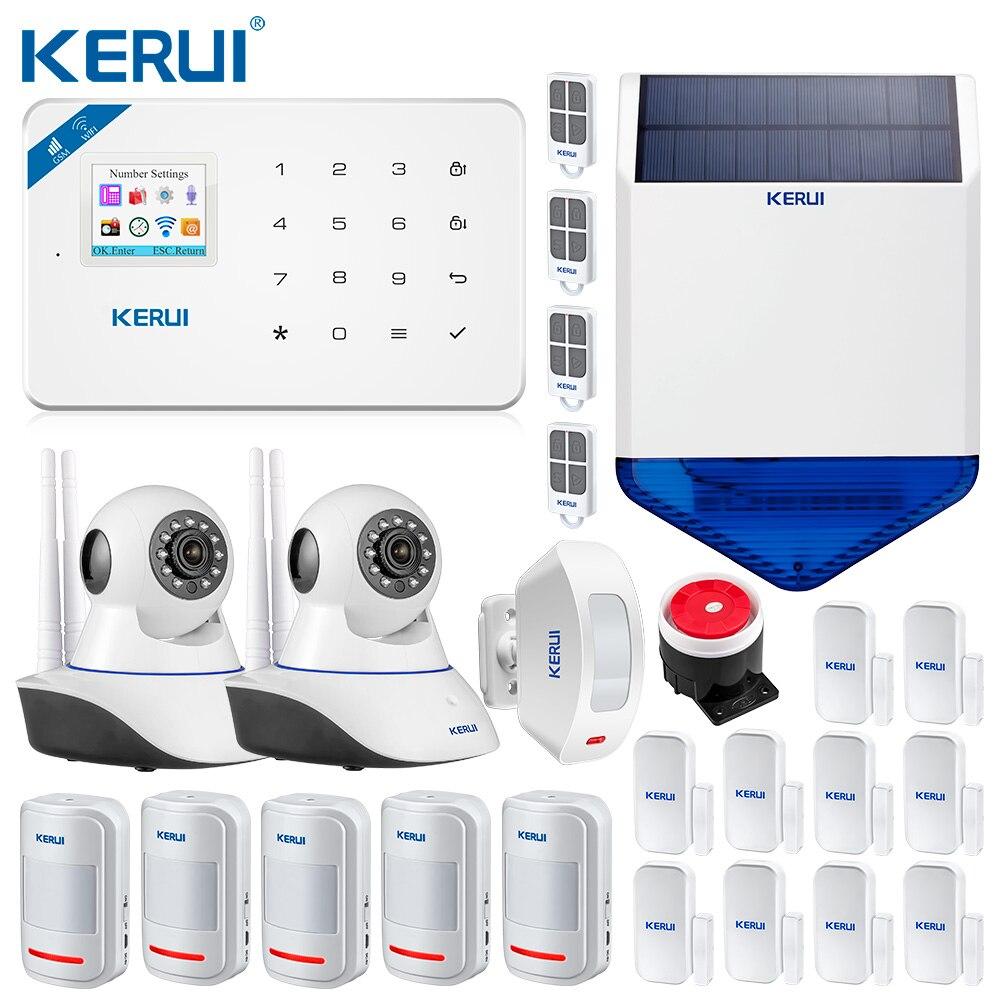 KERUI W18 WIFI GSM SMS Home do Assaltante Sistema de Alarme de Segurança Sensor De Movimento Da Cortina Sirene Solares Sem Fio IP Câmera de Alarme GSM sistema