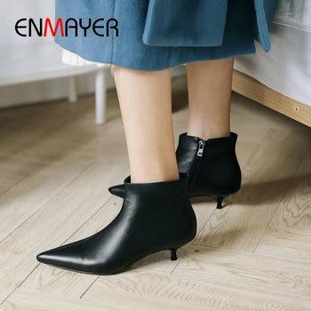 ENMAYER 2020 Elegant Pointed Toe Ankle Boots for Women Thin Heel Winter Boots Women Genuine Leather Slip-On Women Winter Shoes